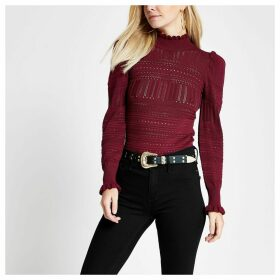 River Island Womens Petite Red puff sleeve pointelle knitted top