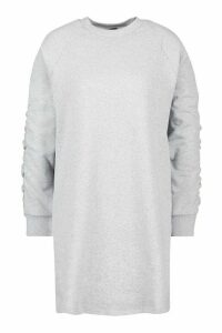 Womens Ruched Sleeve Sweatshirt Dress - grey - 14, Grey