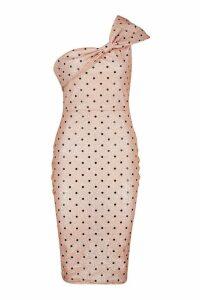 Womens Metallic Polka Dot Bow Midi Dress - pink - 14, Pink