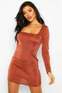 Womens Slinky Square Neck Long Sleeve Mini Dress - brown - 14, Brown