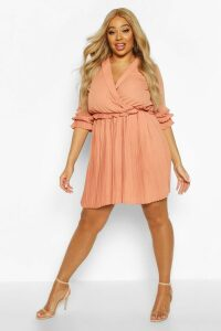 Womens Plus Ruffle Plunge Detail Pleated Skater Dress - Brown - 22, Brown