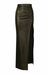 Womens Glitter Jersey Ruched Extreme Split Maxi Skirt - black - 8, Black