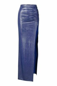 Womens Glitter Jersey Ruched Extreme Split Maxi Skirt - navy - 8, Navy