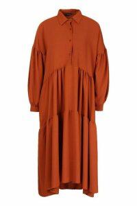 Womens Oversized Tiered Maxi Shirt Dress - Orange - 16, Orange