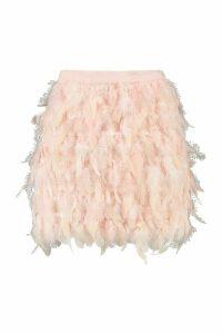 Womens Feather Mini Skirt - Beige - 14, Beige