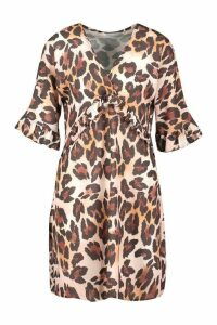 Womens Leopard Print Ruffle Smock Dress - Brown - 16, Brown
