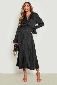 Womens Satin Pleated Midaxi Dress - Black - 16, Black