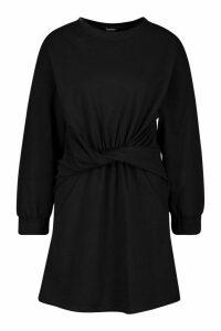 Womens Twist Detail Sweat Dress - black - 14, Black