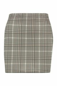 Womens Tonal Check Basic Jersey Mini Skirt - beige - 16, Beige