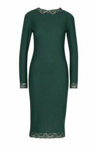 Womens Lace Detail High Neck Long Sleeve Midi Dress - green - 12, Green