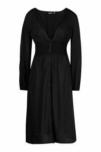 Womens Button Through Midi Skater Dress - black - 12, Black