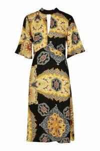 Womens High Neck Paisley Print Midi Dress - Black - 8, Black