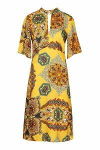 Womens High Neck Paisley Print Midi Dress - Yellow - 12, Yellow
