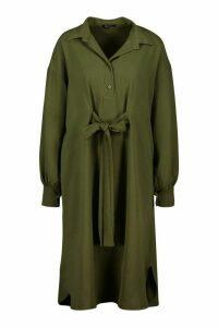 Womens Oversized Blouson Sleeve Maxi Shirt Dress - green - 6, Green