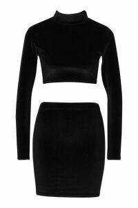 Womens Velvet High Neck Crop & Mini Skirt Co-Ord - black - 12, Black