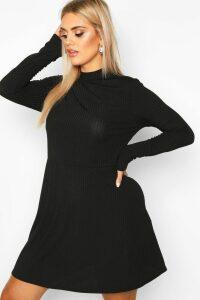 Womens PLus Jumbo Rib Long Sleeve Smock Dress - black - 26, Black