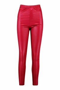 Womens High Waist Wet Look Leggings - red - 16, Red