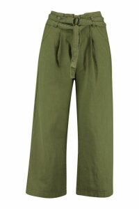 Womens O Ring Belted Wide Leg Utility Trousers - green - M, Green