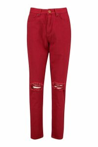 Womens High Waist Distressed Mom Jeans - red - 16, Red