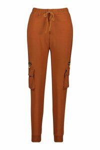 Womens Cargo trousers With Pocket And Zip Feature - brown - M/L, Brown