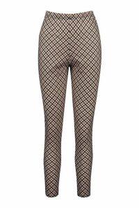 Womens Tonal Check Basic Jersey Leggings - brown - 12, Brown