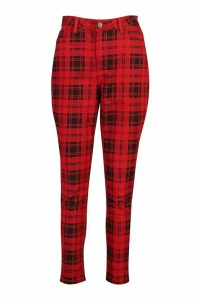 Womens Check High Rise Mom Jean - red - 16, Red