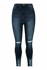 Womens Plus Super Stretch High Waist Ripped Skinny Jeans - blue - 18, Blue