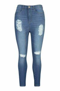 Womens Plus Distressed High Waist Skinny Jeans - blue - 20, Blue