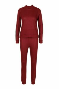 Womens Rib Side Stripe Top And Jogger Co-ord - red - 6, Red