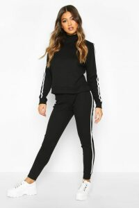 Womens Rib Side Stripe Top And Jogger Co-ord - black - 14, Black