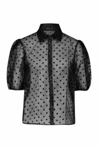 Womens Polka Dot Organza Puff Sleeve Shirt - black - 6, Black