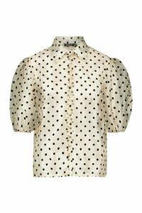 Womens Polka Dot Organza Puff Sleeve Shirt - Beige - 12, Beige