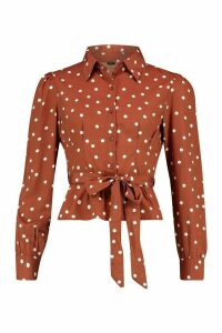 Womens Polka Dot Tie Waist Puff Sleeve Shirt - brown - 12, Brown