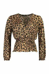 Womens Glitter Leopard Wrap Top - beige - 6, Beige