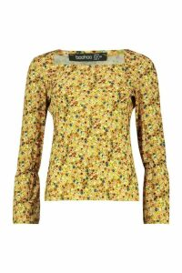 Womens Ditsy Square Neck Ruffle Top - yellow - 14, Yellow