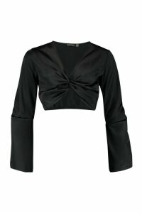 Womens Satin Twist Front Flared Sleeve Crop Top - Black - 14, Black