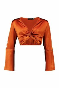 Womens Satin Twist Front Flared Sleeve Crop Top - orange - 14, Orange