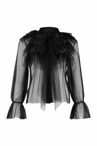Womens Organza Ruffle Tie Neck Shirt - black - 10, Black