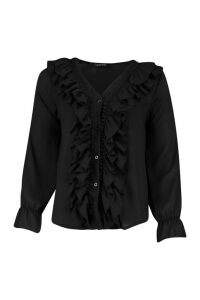 Womens Woven Ruffle Front Blouse - Black - 14, Black