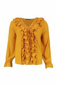 Womens Woven Ruffle Front Blouse - Yellow - 14, Yellow