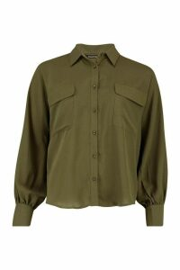 Womens Woven Oversized Long Sleeve Shirt - green - 14, Green