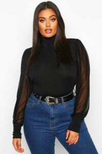 Womens Plus High Neck Puff Mesh Sleeve Rib Top - black - 20, Black