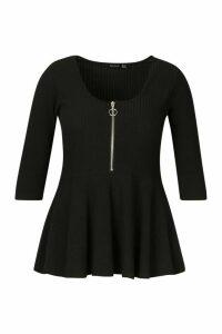 Womens Plus Zip Front Rib Peplum Top - black - 26, Black