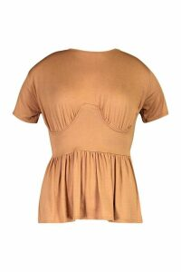 Womens High Neck Cropped Peplum Tee - beige - 12, Beige