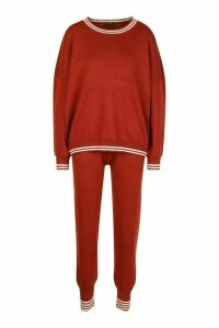 Womens Sports Stripe Knitted Set - brown - S, Brown