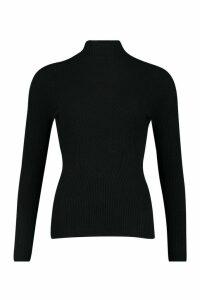 Womens Rib Knit roll/polo neck Top - black - M, Black
