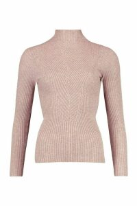 Womens Rib Knit roll/polo neck Top - brown - M, Brown