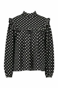 Womens Woven High Neck Smock Polka Dot Blouse - black - 12, Black