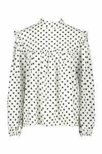 Womens Woven High Neck Smock Polka Dot Blouse - white - 10, White