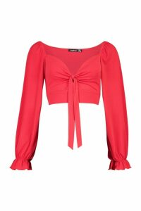 Womens Tie Front Wide Sleeve Cuff Detail Crop Top - red - 14, Red